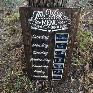 Custom Weeks menu board